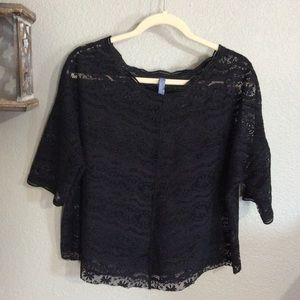 EUC Small Free People Black Lace Top Short sleeved